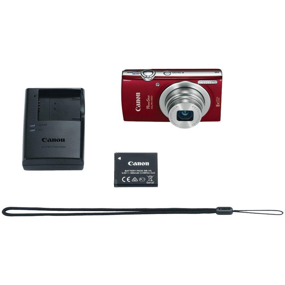 Canon 20.0-Megapixel PowerShot ELPH 180 HS Digital Camera Red