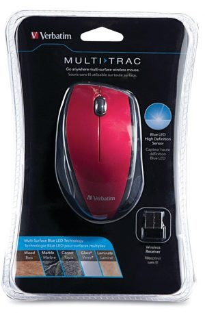 Wireless Multi-Trac Blue LED Optical Mouse (Red)