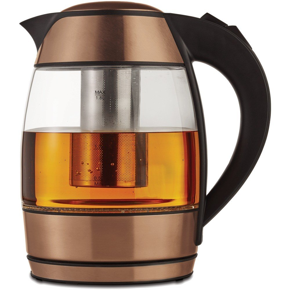 1.8-Liter Cordless Glass Electric Kettle with Tea Infuser Rose Gold