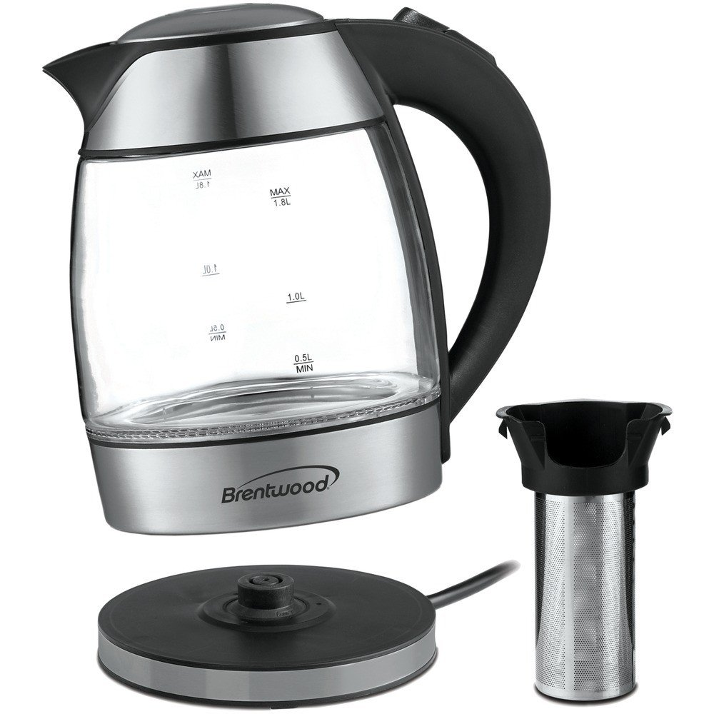 1.8-Liter Cordless Glass Electric Kettle with Tea Infuser Silver & Black