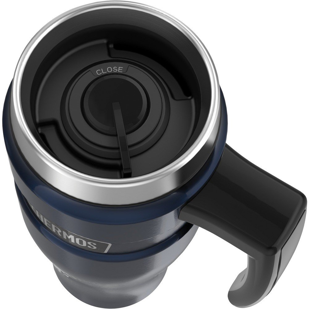 16-Ounce Stainless King Vacuum-Insulated Travel Mug w/ Handle Midnight Blue