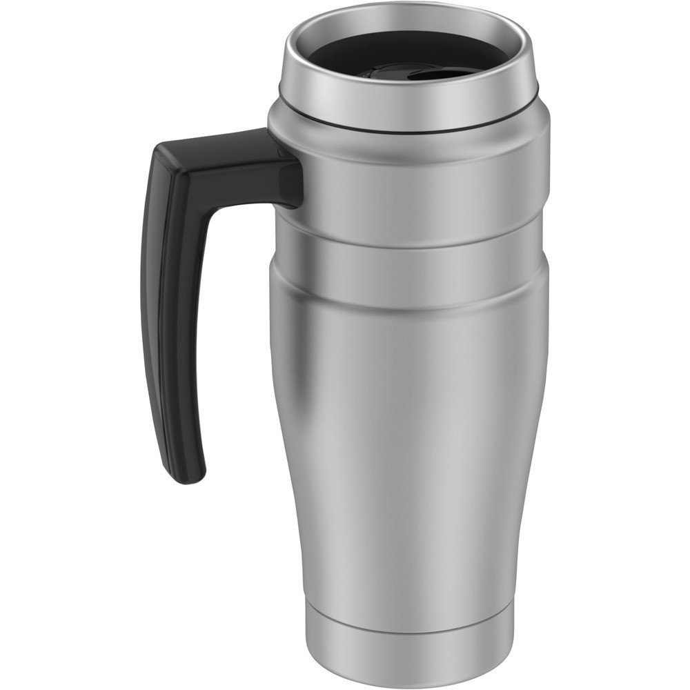 16-Ounce Stainless King Vacuum-Insulated Travel Mug w/ Handle Silver