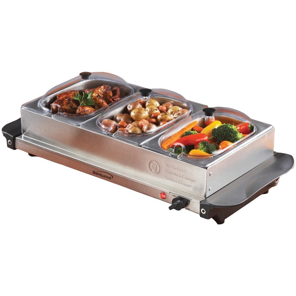 4.5-Quart 3-Pan Buffet Server & Warming Tray