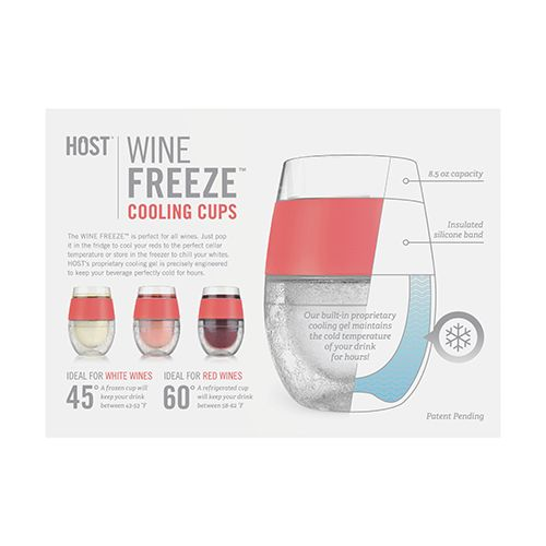 Wine FREEZE Cooling Cups (set of 2) by HOST Coral