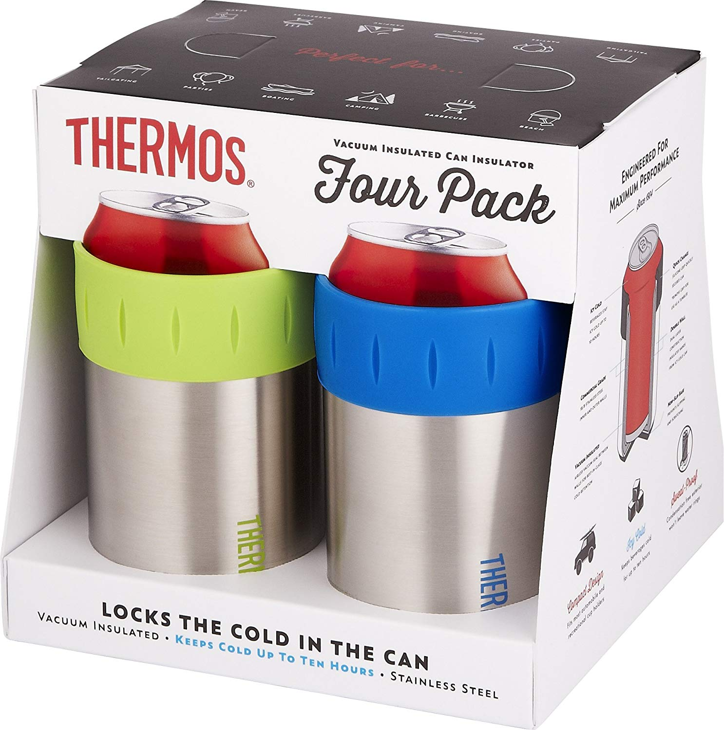 12-Ounce Stainless Steel Beverage Can Insulators 4pk