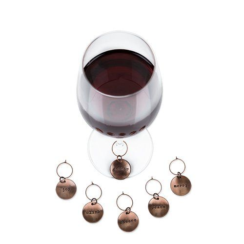 Brushed Copper Wine Charms - Rustic Holiday