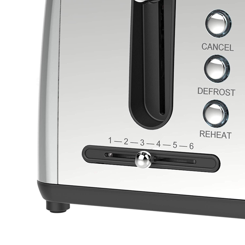 Elegant Extra Wide Slot 4-Slice Toaster