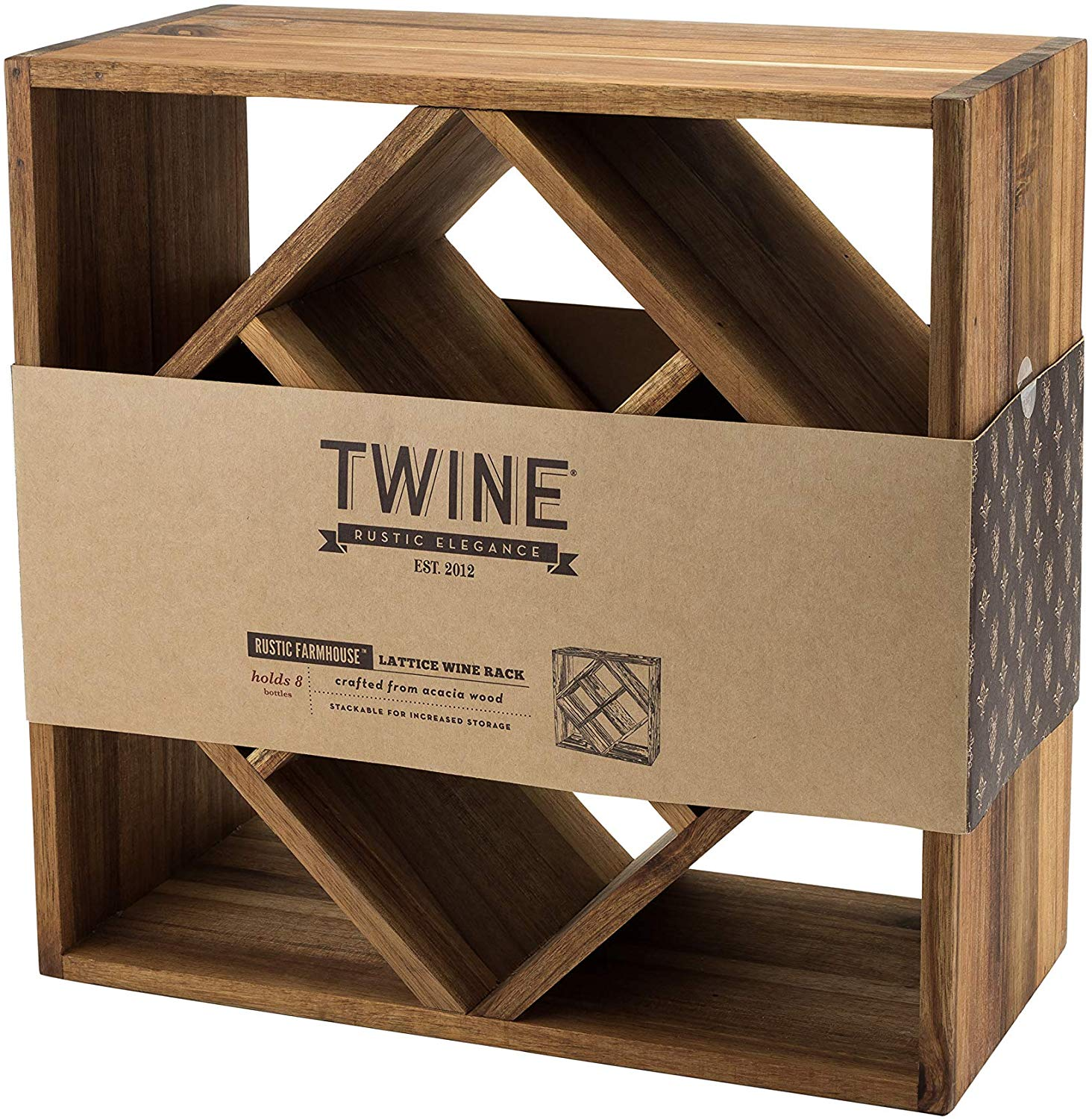 Acacia Wood Lattice Wine Rack by Twine #TNF