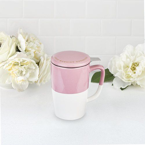 Delia™ Good Morning Gorgeous Tea Mug & Infuser Pinky Up pink 1