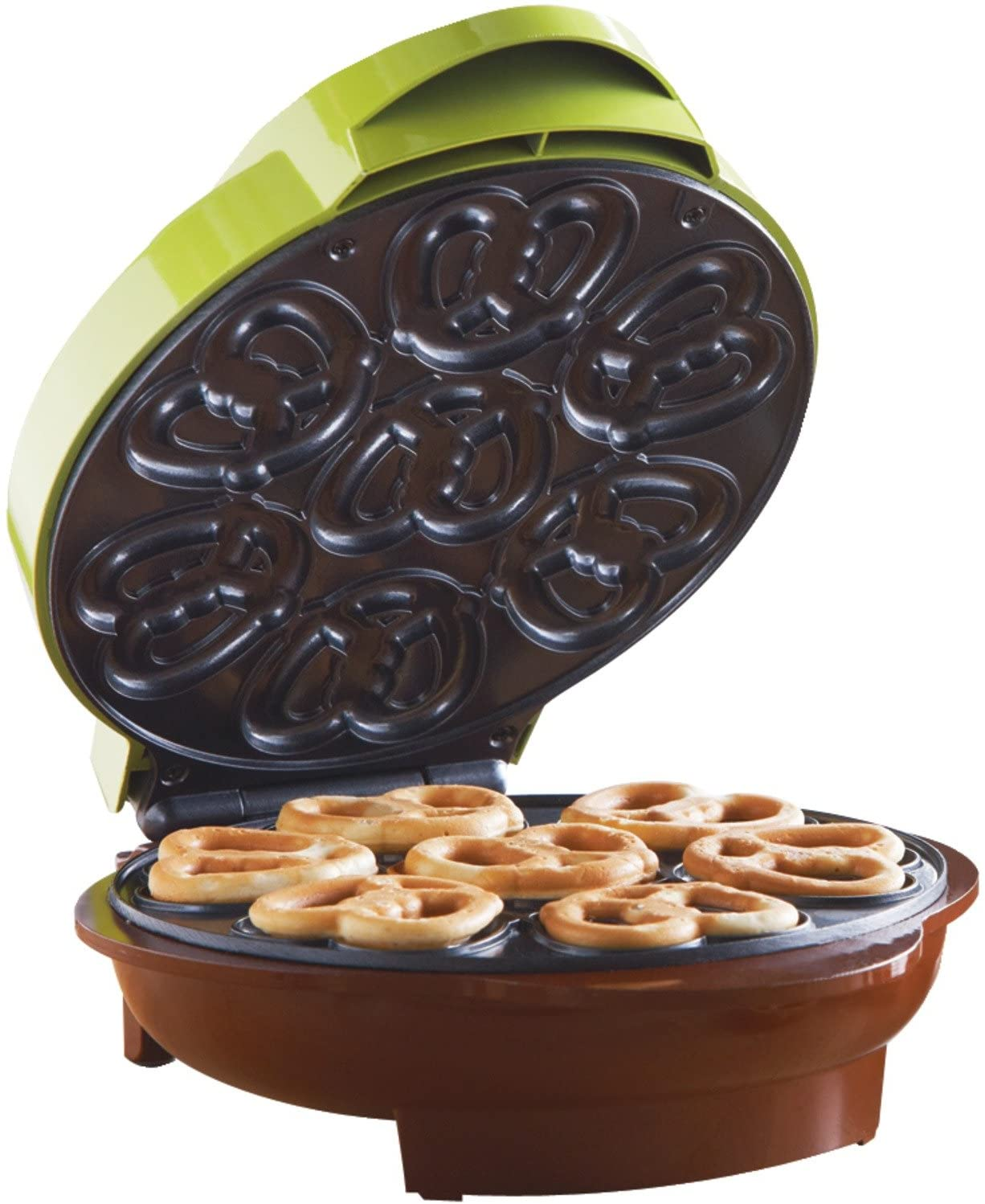 Brentwood Mini Pretzel Maker Machine Non-Stick, Green