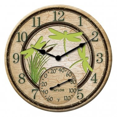 12-Inch Dragonflies Clock with Thermometer